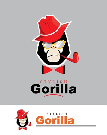 Gorilla with the hat, glasses, pipe and bow tie. Vectores