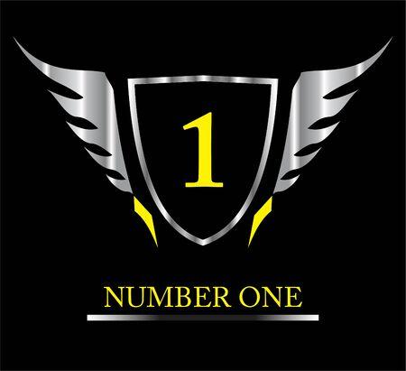 Number 1. Winner, winged shield.