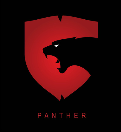 Panther head and shield Illustration