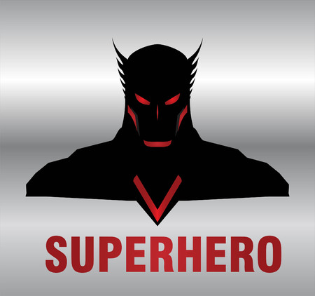 Superhero head with the silver background. man with the mask and black costume compose with text. half body of superhero combine with text. Text placed on the separated layer. Illustration