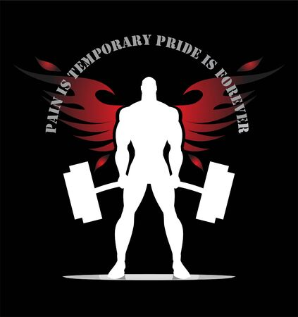 Silhouette of winged body builder.