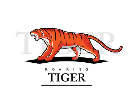 Roaring tiger with text.