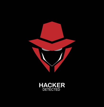 Mysterious man on dark black background. Secret service agent icon. Stock Illustratie