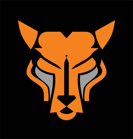 Panther head mascot in orange and grey.