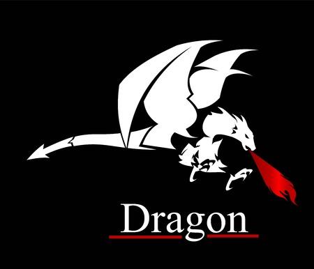 White dragon vector illustration