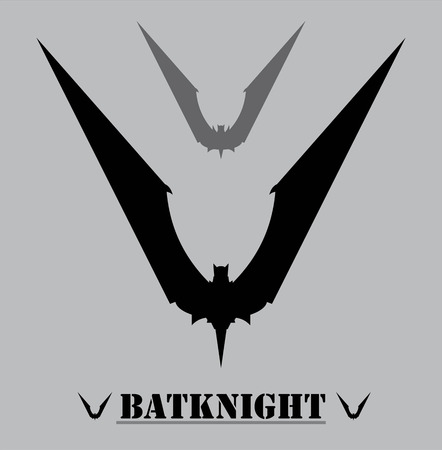Black bat on the grey background. Illustration
