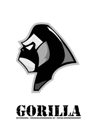 side view of Gorilla head in black and white. Illustration