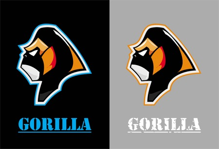 sideview of gorilla head mascot.