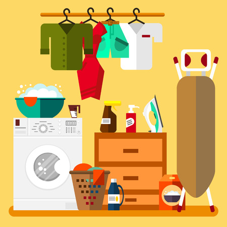laundry room: Laundry room in flat style illustration. Clean objects. Cleaning service.
