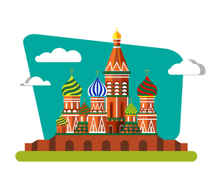 Welcome to Russia. St. Basil's Cathedral on Red square - flat illustration. Landscape design.
