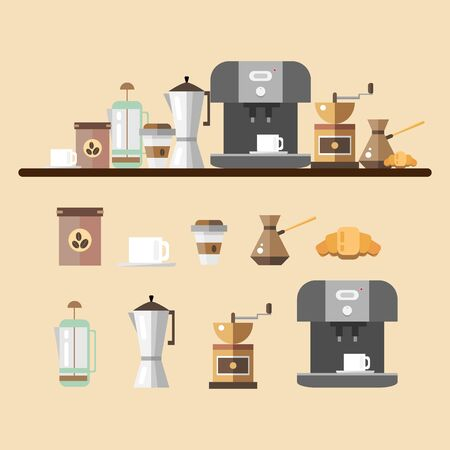 brewed: Set of coffee devices in flat style. Coffee icons illustration. Set for coffee shop. Device for making coffee. Illustration