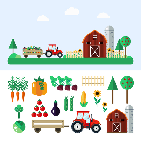 grain storage: Farm with tractor, vegetables, barn, trees, sunflowers. Farm illustration. Farm concept. Farm set - carrot,pumpkin,beet,cabbage,tomato,eggplant,cucumber,corn. Farm set in flat style.