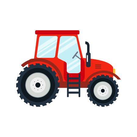 Flat tractor on white background. Red tractor icon - illustration. Agricultural tractor - transport for farm in flat style. Farm tractor icon. Tractor icon illustration.