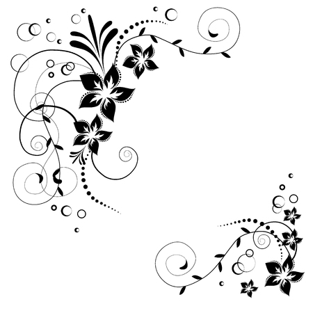 Flower corner. Black flowers on white background. Flowery invitation card. Background with floral elements. Illustration