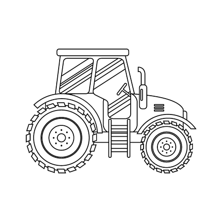 traction engine: Flat tractor on white background. Tractor icon - illustration. Agricultural tractor - transport for farm in flat style. Farm tractor icon. Tractor icon illustration. Illustration