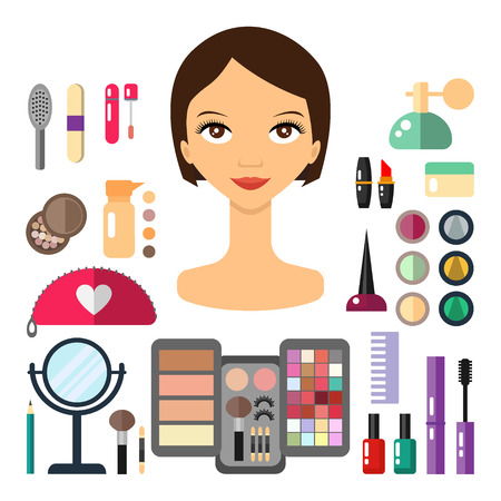eyeshadow: Beauty store with cosmetic objects: mascara, gloss, eyeshadow, lipstick, cream, blush, perfume. Make-up objects. flat illustrations make up cosmetic.