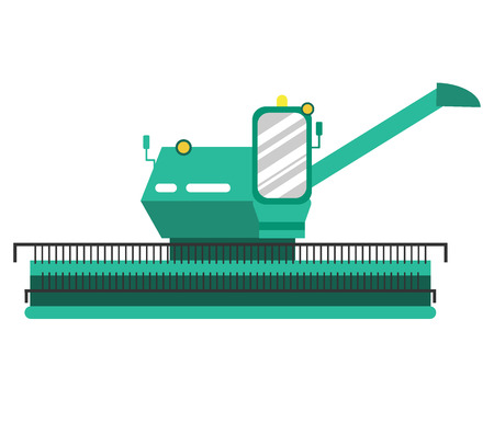 agricultural machinery: Agricultural combine in flat style. Agricultural vehicle and farm machine. Combine illustration in flat design - business concept. Agriculture machinery. Agriculture combine - vector stock.