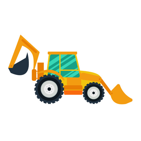 agriculture machinery: Yellow excavator on white background. Excavator in flat style. Agricultural Excavator.Agricultural vehicle and farm machine. Excavator illustration-business concept. Agriculture machinery.