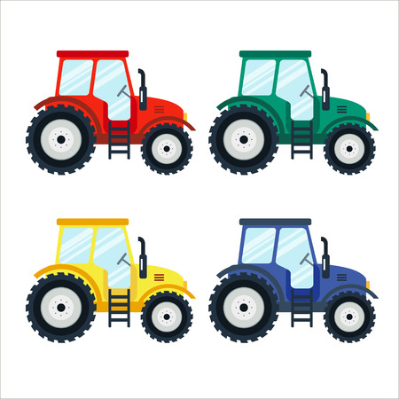agriculture machinery: Colorful tractors on white background. Tractors in flat style. Agricultural tractor. Agricultural vehicle and farm machine. Tractor illustration-business concept. Agriculture machinery.