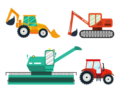 agricultural machinery: Excavators, tractor, combine on white background. Agricultural Excavators, tractors, combine. Agricultural vehicle and farm machine-business concept. Agriculture machinery in flat style.
