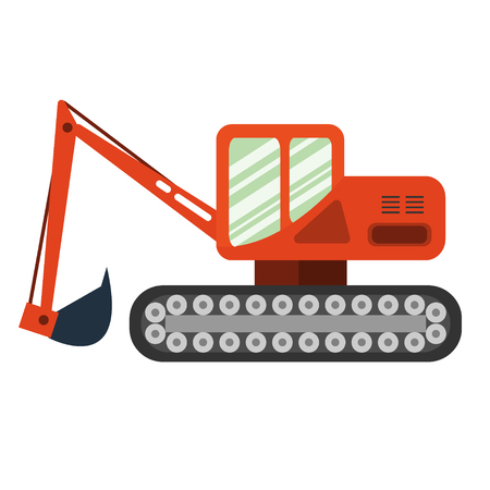 agriculture machinery: Red excavator on white background. Excavator in flat style. Agricultural Excavator.Agricultural vehicle and farm machine. Excavator illustration-business concept. Agriculture machinery. Illustration