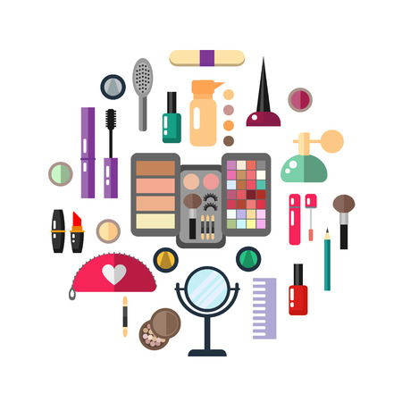 pomade: Beauty store with cosmetic objects: mascara, gloss, eyeshadow, lipstick, cream, blush, perfume. Make-up objects.  flat illustrations make up cosmetic.