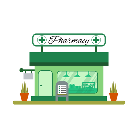 vitrine: Pharmacy house icon in flat style. Drugstore vitrine - illustration.