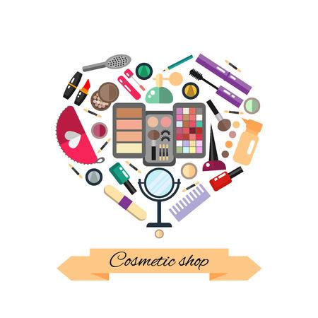 Beauty store with cosmetic objects: mascara, gloss, eyeshadow, lipstick, cream, blush, perfume. Make-up objects. flat illustrations make up cosmetic.