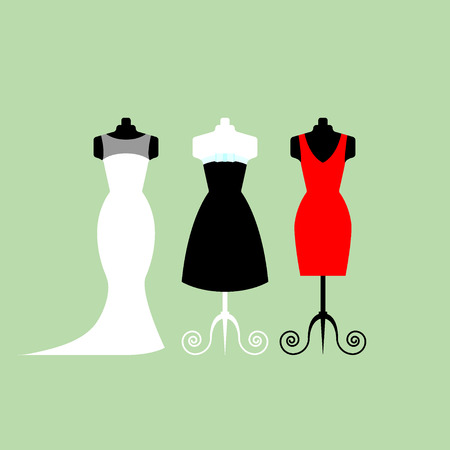 Collection of white wedding dresses in different styles - stock illustration. Illustration
