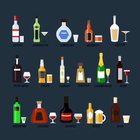 ajenjo: Set of alcohol bottles collection in flat style. Icons illustration. Vodka, champagne, wine, whiskey, beer, cognac, absinthe, sambuca, cider.