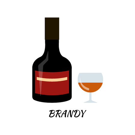 brandy: Brandy alcohol bottle in flat style. Icon stock llustration.