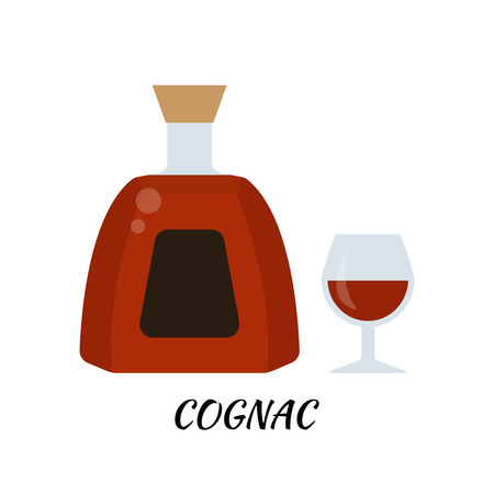 Cognac alcohol bottle in flat style. Icon stock illustration.
