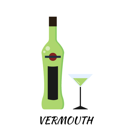 vermouth: Vermouth alcohol bottle in flat style. Icon stock illustration. Illustration
