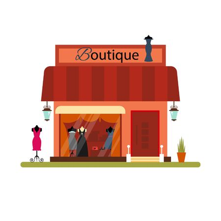clothing shop: Clothing shop in flat style