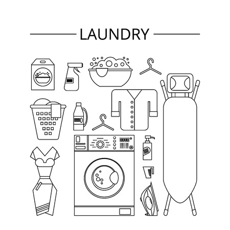laundry room: Laundry room in flat style. Laundry clean objects. Cleaning service