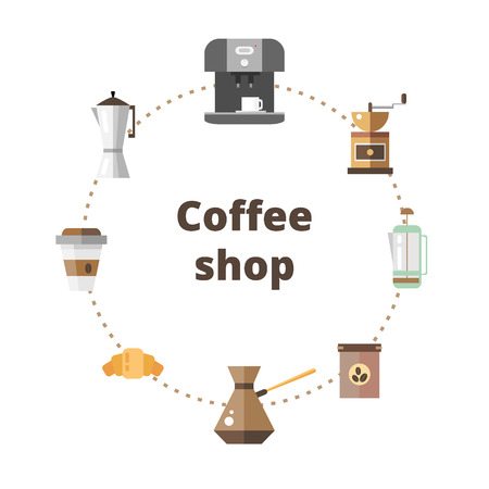 Set of icons coffee devices in flat style