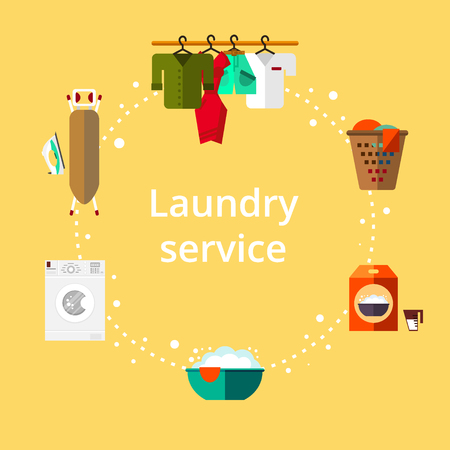 Laundry room in flat style. Clean objects. Cleaning service Illustration