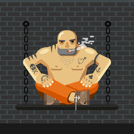 Flat Prisoner. Man in orange prison clothes sitting on a bench with chain and smoke Illustration