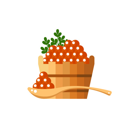 Black caviar in a wooden barrel and spoon. Roe icon vector illustration. Russian traditional snack. Caviare menu for restaurant