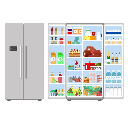 ration: Illustration of grey closed and opened refrigerator full of food - vector stock. Fruit, vegetables, meat, cheese, milk, eggs in freser. Daily ration