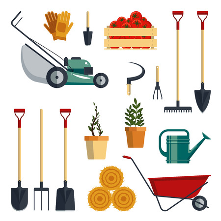 worktool: Set of farm tools flat - vector illustration. Garden instruments icon collection isolated . Farming equipment.
