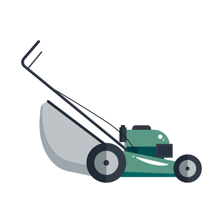 push mower: Lawn mower machine icon technology equipment tool, gardening grass-cutter - vector stock