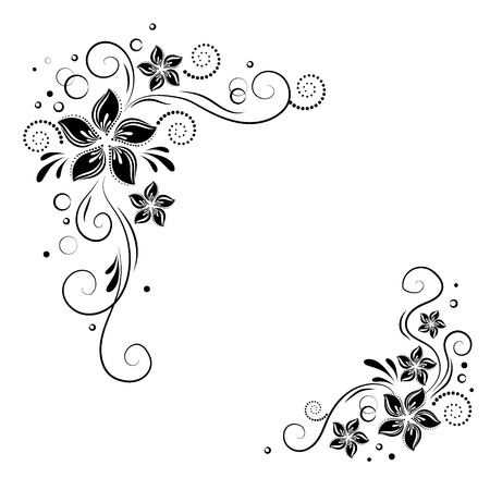 Floral corner design. Ornament black flowers. stock. Decorative border with flowery elements, flowers pattern