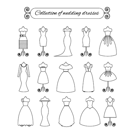 honoring: Collection of white thin line wedding dresses - stock vector illustration. Bride dress silhouette