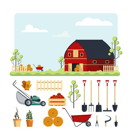 Set farm tools flat-vector illustration. Garden instruments icon collection isolated on white background. Farming equipment, ranch with hay Illustration