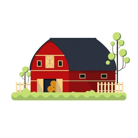 hay bale: minimalistic illustration of a barn, eps10 vector