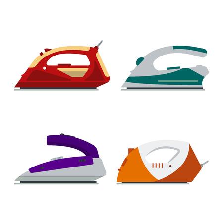 Ensemble de fers colorés isolé sur fond blanc - illustration vectorielle. Équipement électrique de logo d'icône plate, appareil électrique de repassage, appareil à la maison, outil de ménage