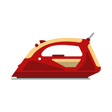 steam iron: Red iron isolated on white background - vector illustration. Flat icon logo electrical equipment, ironing electric appliance, home device, housework tool