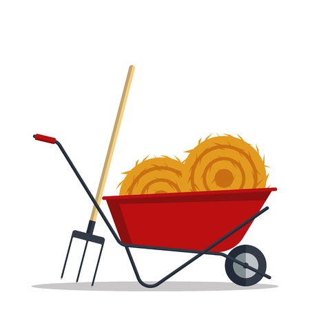 Red flat gardening wheelbarrow with hay and pitchfork isolated on white background. Tool constraction farming wheel icon equipment Illustration