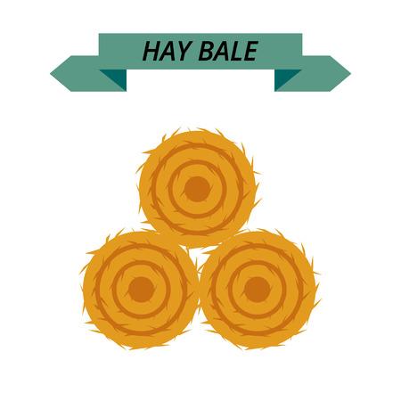 Flat dried haystack isolated on white background. Farming haymow bale hayloft vector illustration, haystack, hayrick Ilustração